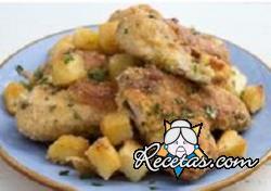 Alitas de pollo y patatas sabrosas