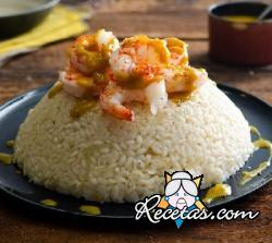 Arroz al curry con gambas