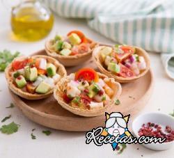 Canastitas de tacos con gambas marinadas