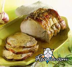 Cerdo asado con mostaza