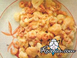 Coliflor con camarones