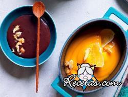 Crema de calabaza con cacao y nueces