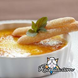 Crème brulee de naranja con madalenas de limón