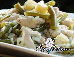 Ensalada de arroz, pavo y judías verdes