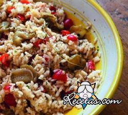 Ensalada de arroz y berenjenas