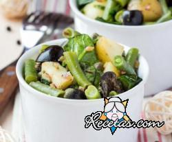 Ensalada de patatas con judías verdes y aceitunas