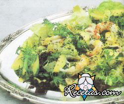 Ensalada fresca de langostinos, paltas, jenjibre y pomelos