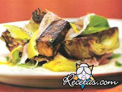 Ensalada de rúcula con tofu y jamón de Parma