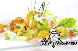 Ensalada de papas al vino blanco con frutos del mar