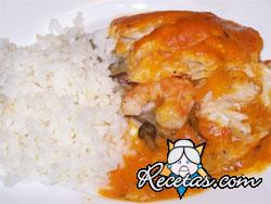 Gambas en salsa de arroz
