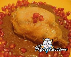 Muslos de pollo con crema de champiñones y granada