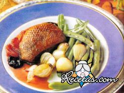 Pato con salsa de albaricoques