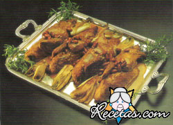 Pato con salsas de nueces y endibias