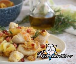 Pechugas de pollo con patatas y jamón