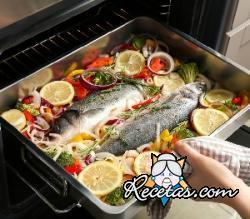 Pescado al horno con pimientos