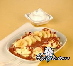 Plátanos crujientes con helado