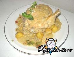 Pollo en crema de champiñones