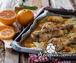 Pollo al horno con naranja e hinojo