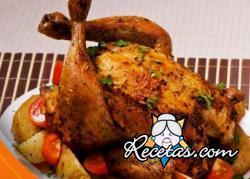 Pollo aromático al coñac