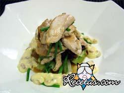 Pollo con ostras