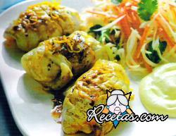 Rollos de pescado con salsa de cítricos