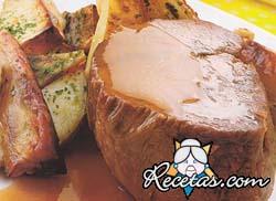 Roast beef con peras (microondas)