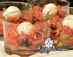 Shots de búfala y tomatitos cherry