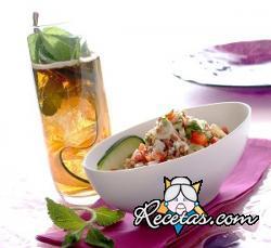 Taboulé de arroz blanco y rojo