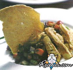 Tiritas de pollo y vegetales