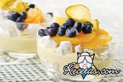 Trifle de frutas al coco