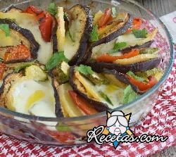 Verduras al horno con mozzarella